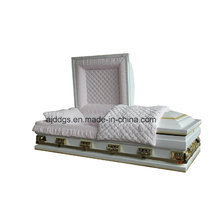 White Shaded Light Gold Finish Casket (Oversize)